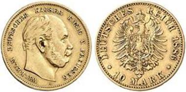 Kaiserreich, Preußen 10 Mark: Welchen Wert haben beide Münzen? Aus Auktion Künker 256 (2014), 7393.