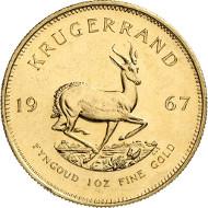 In Top-Qualität bereits mit erheblichem Aufschlag: 1 oz 1967 Krügerrand, Qualität: Polierte Platte, Zuschlag 2014: 1.300,- Euro. Künker 245 (2014), 671.
