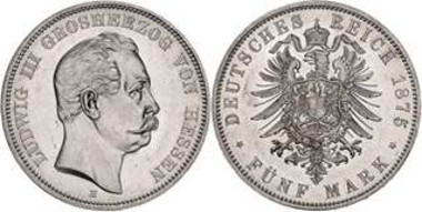 Hessen, Ludwig III., 5 Mark 1875,