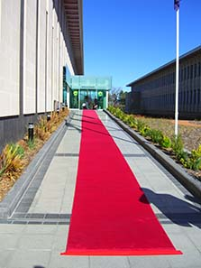 A red carpet invited the participants to visit the Royal Australian Mint. Photo: Ursula Kampmann