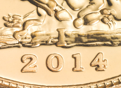 Close up on the Indian Gold Sovereign 2014.