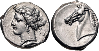 Lot 42: SICILY, Entella. Punic issues. Circa 320/15-300 BC. Tetradrachm. Jenkins, Punic 229 (O71/R196); HGC 2, 288. Near EF. From the collection of a Southern Pathologist. Estimate: $2000.