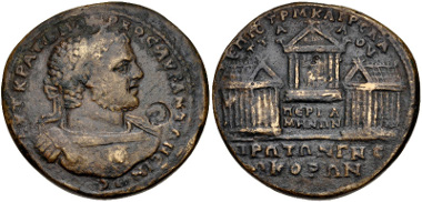 Lot 413: MYSIA, Pergamum. Caracalla. AD 198-217. Medallion. SNG France 2228 (this medallion). VF. From the Edoardo Levante Collection. Deaccessioned from the Bibliothèque Nationale de France. Estimate: $500.