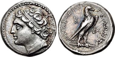 Lot 68: SICILY, Syracuse. Gelon, son of Hieron II. 275-215 BC. 4 Litrai-Drachm. Struck circa 218/7-215 BC. CCO 288 (D4/R3); Kampmann p. 31 (this coin). Good VF. From the collection of the MoneyMuseum, Zurich. Ex Peter M. Suter Collection. Estimate: $500.