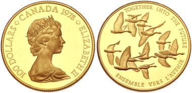 Lot 909: CANADA. Elizabeth II. 1952-pres. AV 100 Dollars. 1978. Canadian Unification. AGW: 0.5002 oz. KM 122. Proof, hairlines. Estimate: $750.