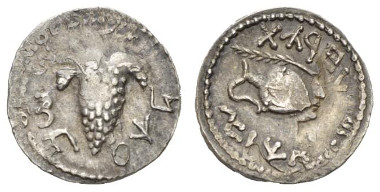 Judaea, Bar Kochba Revolt, 132-135. Denarius or Zuz, 134-135. Mildenberg 157. Hendin 1433. Good Very Fine. Overstruck on a drachm of Trajan. Starting bid: £200.