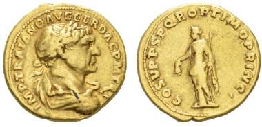Roman Empire. Trajan. Aureus, 108-110. BMC 312. RIC 123 var. (not cuirassed). Very Fine. Starting bid: £1,000.