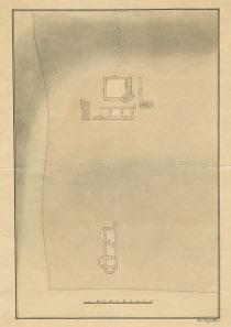 Plan des Badegebäudes (unten) und weiterer Gebäude der römischen Zivilsiedlung in Schlögen aus dem Jahr 1838 von Carl Enzlmüllner. © OÖ. Landesmuseum.