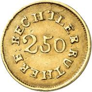 USA / NORTH CAROLINA. 2 1/2 dollars n. d. (1834-1837). CAROLINA GOLD. Issued by Christopher Bechtler. Fb. 8. Very rare. Auction sale Künker 258 (January 29, 2015), 812. Estimated at 7,500 euros.
