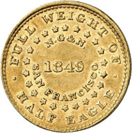 USA / CALIFORNIA. 5 dollars 1849. CALIFORNIA GOLD. Issued by Norris, Grieg & Norris, San Francisco. Fb. 60. Very rare. Auction sale Künker 258 (January 29, 2015), 807. Estimated at 10,000 euros.