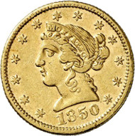 USA / CALIFORNIA. 5 dollars 1850. CALIFORNIA GOLD. Issued by Moffat & Co., San Francisco. Fb. 49. Rare. Auction sale Künker 258 (January 29, 2015), 804. Estimated at 3,500 euros.