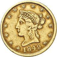 USA / CALIFORNIA. 10 dollars 1849. CALIFORNIA GOLD. Issued by Moffat & Co., San Francisco. Fb. 50. Rare. Auction sale Künker 258 (January 29, 2015), 805. Estimated at 2,000 euros.