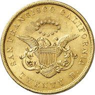 USA / CALIFORNIA. 20 dollars 1853. SAN FRANCISCO CALIFORNIA. Issued by Moffat & Co., San Francisco. Fb. 51. Very rare. Auction sale Künker 258 (January 29, 2015), 806. Estimated at 12,500 euros.