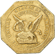 USA / CALIFORNIA. 50 dollars octogonal 1851. Assayer of Gold, Augustus Humbert, San Francisco. Fb. 36. Very rare. Auction sale Künker 258 (January 29, 2015), 800. Estimated at 15,000 euros.