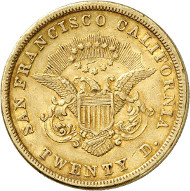 USA / CALIFORNIA. 20 dollars 1854. SAN FRANCISCO CALIFORNIA. Issued by Kelogg & Co., San Francisco. Fb. 37. Rare. Auction sale Künker 258 (January 29, 2015), 802. Estimated at 5,000 euros.