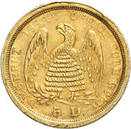 USA / UTAH. 5 dollars 1860. DESERET ASSAY OFFICE PURE GOLD. Issued by The Mormons, Salt Lake City. Fb. 59. Extremely rare. Auction sale Künker 258 (January 29, 2015), 815. Estimated at 35,000 euros.