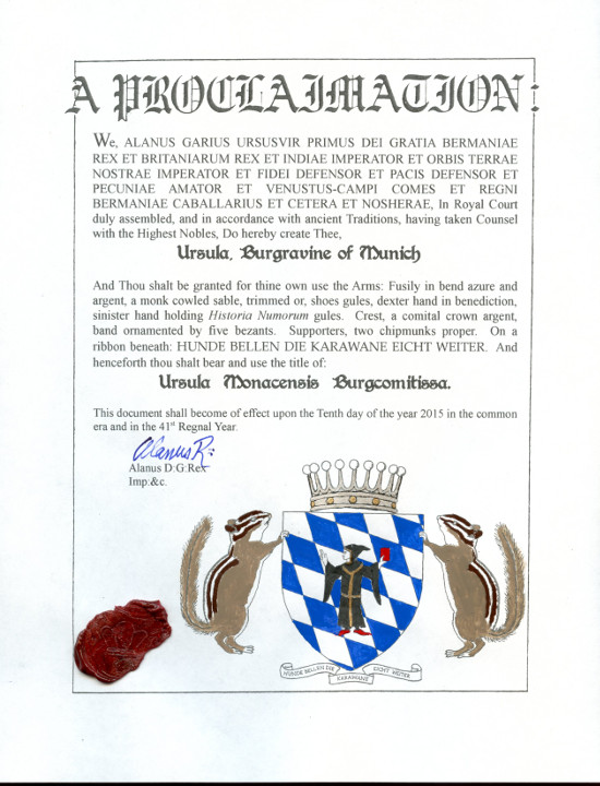 The patent of nobility of the newly-minted Burgravine. © State Archive of Bermania.