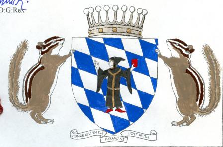 The coat of arms of Ursula, Bermanian Burgravine of Munich. Original: State Archive of Bermania.