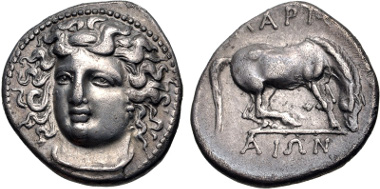 Lot 86: THESSALY, Larissa. Circa 365-356 BC. Drachm (19mm, 5.80 g, 11h). BCD Thessaly II 316. Good VF, lightly toned. Estimate $200.