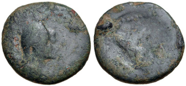 Lot 222: KINGS of ARMENIA. Tigranes IV, with Erato. Second reign, circa 2 BC-AD 4. Chalkous (19.5mm, 4.96 g, 11h). Kovacs, Armenia II 5; CAA 128 (Tigranes II); AC 122 (Tigranes II). Good Fine. Extremely rare. Estimate $500.