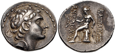Lot 233: SELEUKID KINGS of SYRIA. Antiochos III 'the Great'. Tetradrachm (30mm, 17.08 g, 12h). Struck circa 204-197 BC. SC 1044.1; Le Rider, Antioche, Series III-IV, 23?54 (obv. die A4); HGC 9, 447u. VF, toned. From the collection of a Southern Pathologist. Estimate $300.