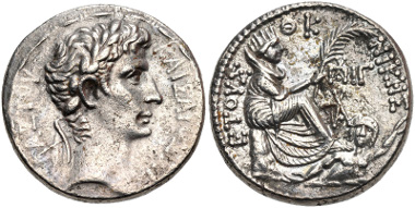 Lot 348: SYRIA, Seleucis and Pieria. Antioch. Augustus. Tetradrachm (26mm, 15.18 g, 12h). McAlee 184; Prieur 54; RPC I 4155; DCA 400. Good VF, some porosity. From the Colin Kirk Collection. Estimate $200.