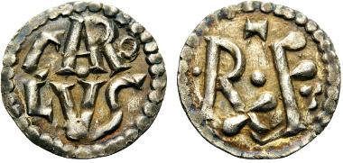 Karl der Große, Denar (18mm, 1.25 g 11), Gariel V, 1-2 var. MEC I, 731. M./G. 226 var. Prou 891-892 var. Sehr selten. Vorzüglich. Startpreis: 3.500 CHF.