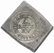 Frankenthal. Uniface klippe of 15 batzen, 1623. Ehrend 9. From auction sale Künker 131 (2007), 5088.