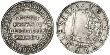 Brunswick-Wolfenbüttel, Principality. Christian, Bishop of Halberstadt. Reichsthaler, Lippstadt, 1622 (so-called Pfaffenfeindthaler). Dav. 6320. From auction sale Künker 237 (2013), 2654.