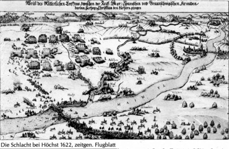 The Battle of Höchst in a contemporary depiction, 1622. Source: Wikicommons.