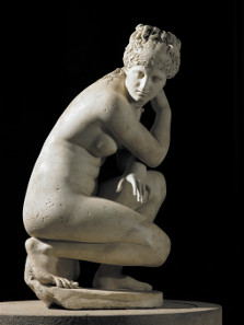 Marble statue of a naked Aphrodite crouching at her bath, also known as Lely's Venus. Roman copy of a Greek original, 2nd century AD. Lent by Her Majesty the Queen.
