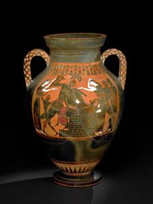 Pottery: black-figured amphora: the death of Priam. Greek, 550BC-540BC (circa). Vulci, Lazio, Italy. © The Trustees of the British Museum.