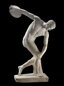 Discobolus: Marble statue of a discus-thrower (discobolus) by Myron. Roman copy of a bronze Greek original of the 5th century BC. © The Trustees of the British Museum.
