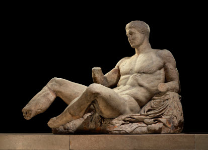 A figure of a naked man, possibly Dionysos. Marble statue from the East pediment of the Parthenon. Designed by Phidias, Athens, Greece, 438BC-432BC. © The Trustees of the British Museum.