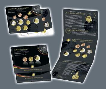 Kursmünzensatz 2015 in Stempel- und Spiegelglanzqualität (1-50 Cent, 1 Euro, 2 Euro