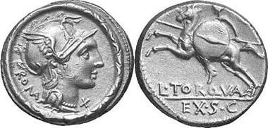 Denar des L. Manlius Torquatus, 113 oder 112 v. Chr. Cr. 295/1. Aus Auktion Gorny & Mosch 147 (2006), 1898.
