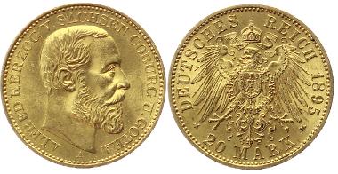 J272: SACHSEN-COBURG-GOTHA. Alfred, 1893-1900. 20 Mark 1895A. Vorzüglich-Stempelglanz. 5.800,-