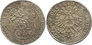 778: SALZBURG. Erzbistum. Johann Jakob Khuen v. Belasi-Lichtenberg, 1560-1586. Salzburg. Guldentaler 1572. B./R. 1357/1359; Dav. 123; Probszt 578; Zöttl 638. Feine Tönung, vorzüglich+ 1.150,-