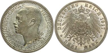 J 77: HESSEN. Ernst Ludwig, 1892-1918. 3 Mark 1917. PP-. 5.250,-