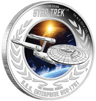 2015 Star Trek Coin Series - U.S.S. Enterprise NCC-1701 1oz Silver Proof Coin. TM & © 2015 CBS. ARR.