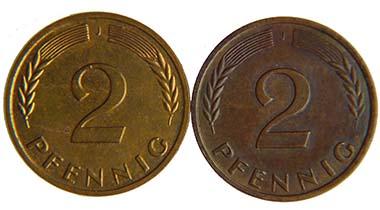 Frage 2: Welche der beiden Münzen läßt den Verdacht zu, daß eine Verfälschung vorliegt?