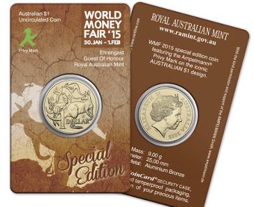 Australiens Sonderausgabe für die World Money Fair: 1-Dollar-Känguruh-Münze mit Ampelmännchen.© Christof Krüger/Syntax.