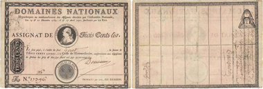 Incredible error banknote from 1790, along with its certificate of authenticity issued by J.-P. Vannier. Valued at 5,000 euros, with a starting price of 3,200 euros.