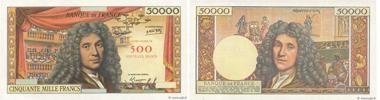 Epreuve/specimen of a 500 NF sur 50000 Francs Molière. Presented along with its certificate of authenticity. Valuation: 28,000 euros.