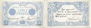 Specimen of the 5 Francs bleu. A true piece of museum collection, a unique item. Valuation: 15,000 euros.
