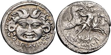 Lot: 448: Moneyer issues of Imperatorial Rome. L. Plautius Plancus. 47 BC. Denarius (19mm, 3.44 g, 6h). Rome mint. Crawford 453/1a; CRI 29; Sydenham 959; Plautia 15. VF, toned, a few areas of porosity. From the Elwood Rafn Collection. Estimate $150.