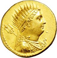 1984: Egypt. Ptolemaios IV. Philopatoros. 221-204 BC. Gold Oktodrachm.
