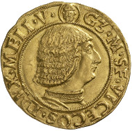 Milan. Galeazzo Maria Sforza (1466-1476). Ducat. Armour-clad bust of Galeazzo to the right, above, frontal view of the bust of Saint Ambrose of Milan. Rv. Visconti coat of arms, above, crest, in the left square, staff with two buckets. © MoneyMuseum, Zurich.