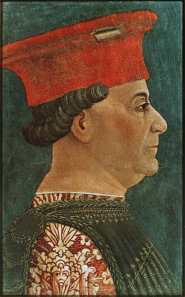 Bonifacio Bembo, portrait of Francesco Sforza, around 1460. Sforza insisted on being painted with the old hat he used to wear as a condottiere. Source: Wikicommons.
