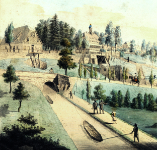 Grube Churprinz mit Erzkanal um 1790. Bild: Jens Kugler, Kleinvoigtsberg.